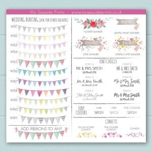 bunting, flower bunting choice for welly wedding prints