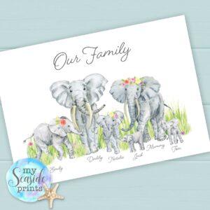 Elephant Family Personalised Print