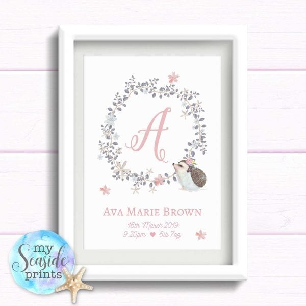Gift for Baby Girl. Personalised Pink and Grey Flower Wreath and initial with cute hedgehog. Bespoke print for girls birthday. Newborn baby.