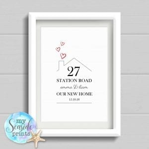 Our New Home Personalised Housewarming Print or New Home Gift. Gift for family home. Moving In Present or Wall Art. Moving House.
