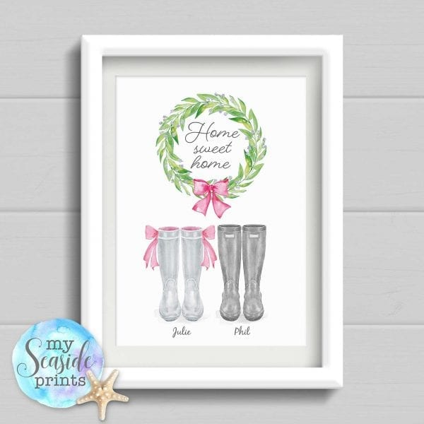 Home Sweet Home Personalised Housewarming Print. Welly Boot New Home Gift. Family home wall art. Moving In Present. Moving House Gift.