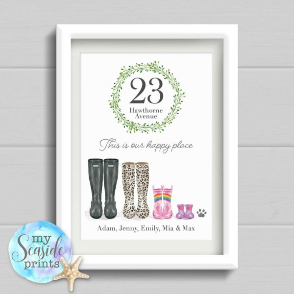 This is our happy place Personalised Housewarming Print or New Home Gift