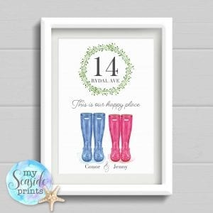 Housewarming Gift. This is our happy place place. Personalised Welly Boot New Home Present. Family home wall art. Moving House Gift.