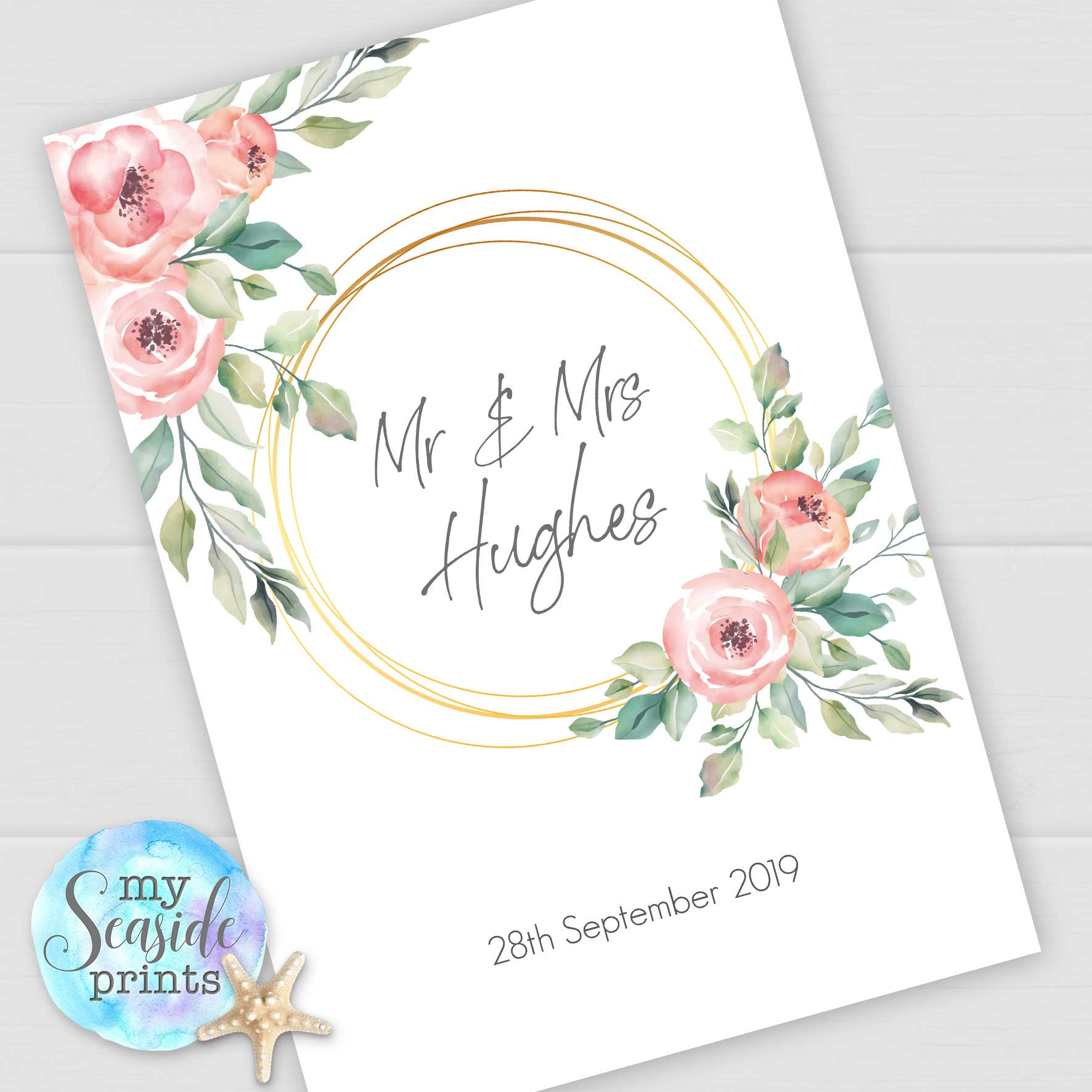 Personalised Couple Name Print Love Foil Effect Mr /& Mrs