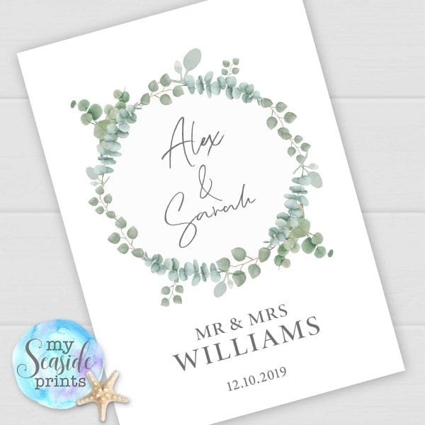 Personalised Wedding Gift with Eucalyptus foliage wreath. Modern Anniversary Print with names and date. Wedding or Anniversary Present.
