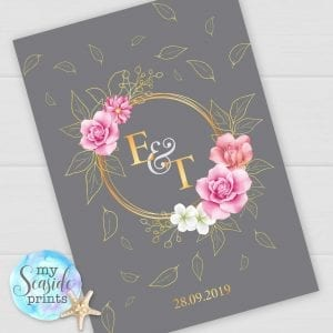 Personalised Elegant Wedding Gift with gold initials and date and flowers. Grey Anniversary Print or Wedding Present