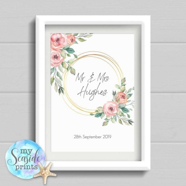 Personalised Wedding Gift. Personalised Watercolour flowers and foliage Wedding Print. Wedding or Anniversary Present.