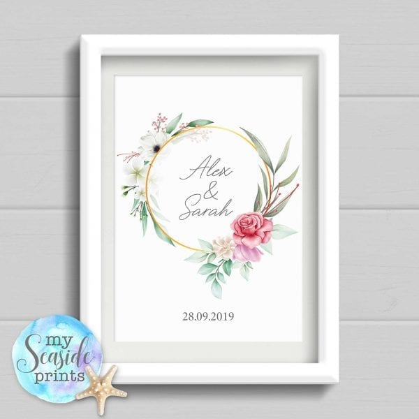 Personalised Wedding Gift. Bespoke Watercolour flowers and foliage Wedding Print. Wedding or Anniversary Present.