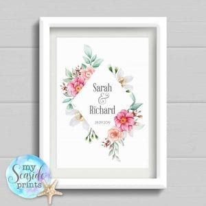 Personalised Wedding Gift. Diamond Watercolour flowers and foliage Anniversary Print. Wedding or Anniversary Present.