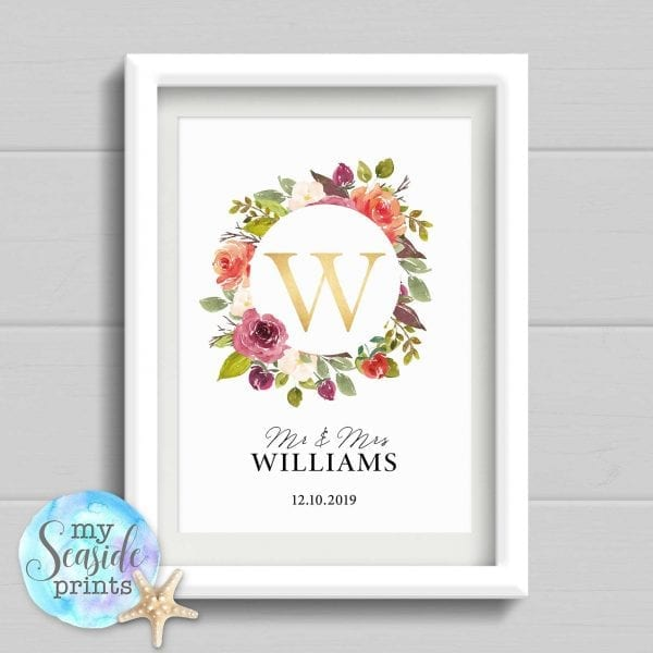 Personalised Wedding Gift with surname and date. Watercolour flowers and foliage Anniversary Print with gold initial. Wedding Present.
