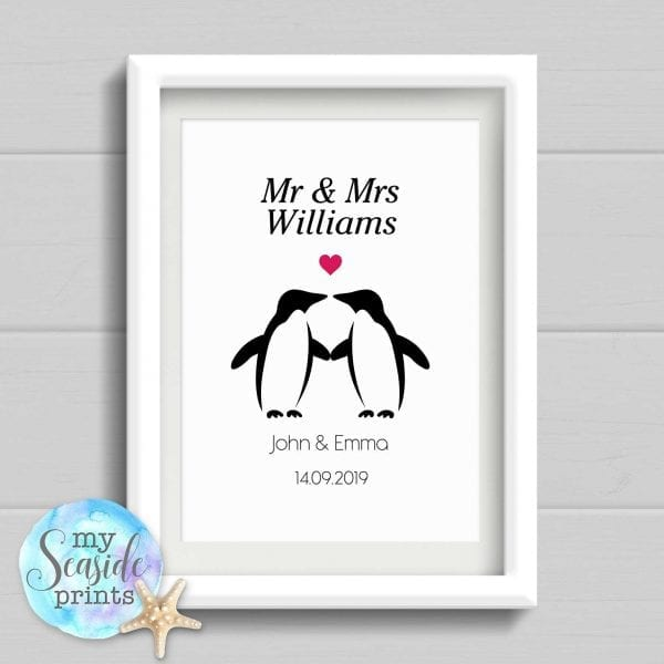 penguin wedding print