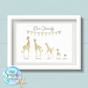 giraffe family print with bunting