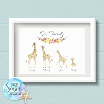 giraffe family print with flower banner