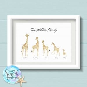giraffe family print with scenery