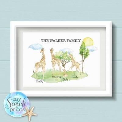giraffe family print with scenery