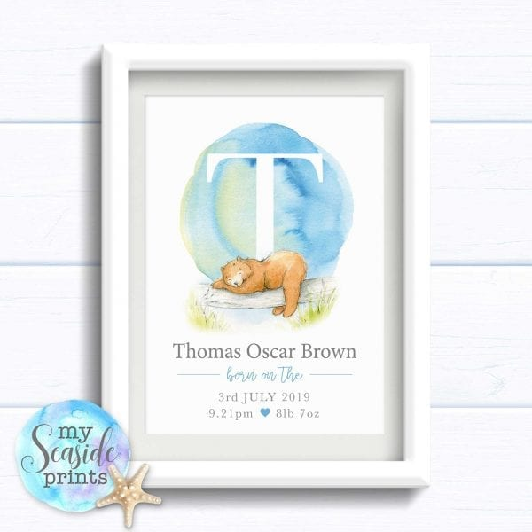 Personalised Newborn Baby Boy Gift with Birth stats. Blue and grey print with cute bear. 1st birthday present or new baby gift.