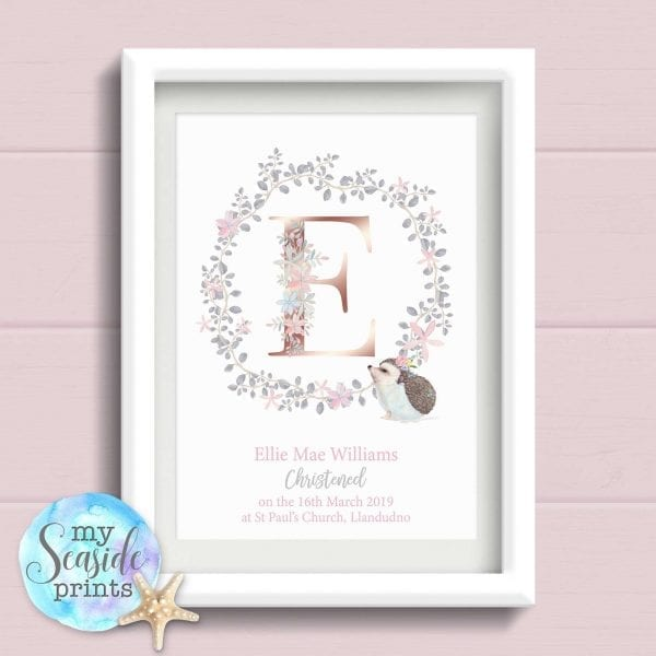 Girls Christening Gift from Godparent. Personalised Print with grey and baby pink Flower Wreath and Rose Gold initial. For goddaughter