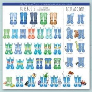 boys welly boot options for family welly boot prints. Add ons include, cap, football, rocket, aliens, tractor, lion, stars, monkey, dinosaur, cow, pirate, trains, turtle, rainbow, zebra