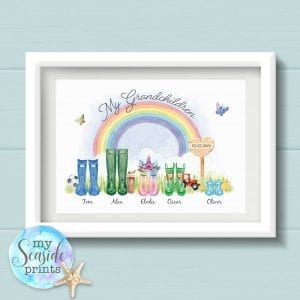 Personalised Grandchildren Print with Welly Boots, rainbow and grass