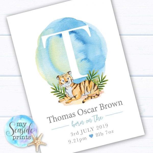 Personalised Newborn Baby Boy Tiger Print