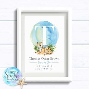 Personalised Baby Boy Print with cute tiger