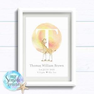 Personalised Newborn Baby Boy Giraffe Print