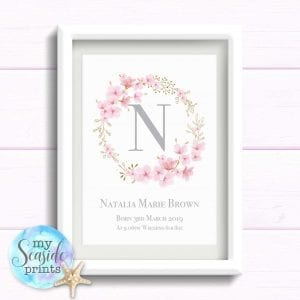 Gift for Baby Girl. Personalised Pretty Cherry Blossom Print with Name and birth details.