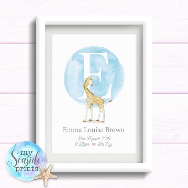 Personalised Print with Giraffe and initial. Print with birth stats. Gift for baby girls birthday. Newborn baby Present.