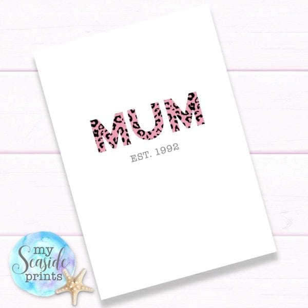 Modern Mothers Day Gift for mum. Leopard print Mothers Day present for Mom