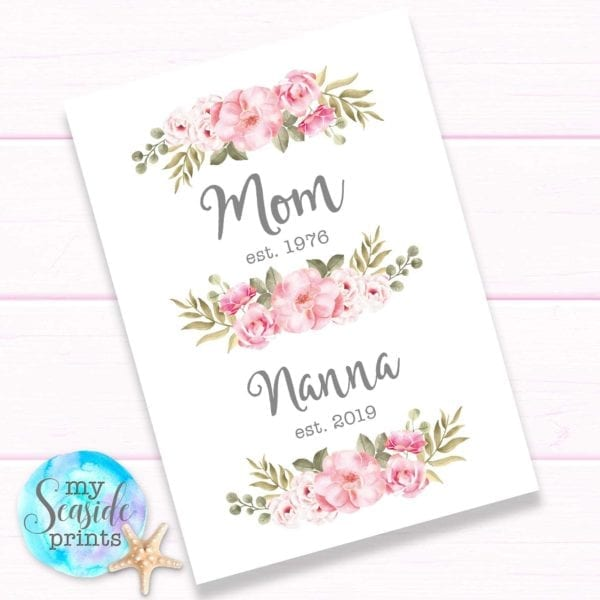 Personalised Floral print for mum and grandma