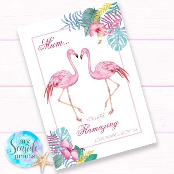 Flamingo Mothers Day Gift for mum. You are flamazing. Personalised Mothers Day print.