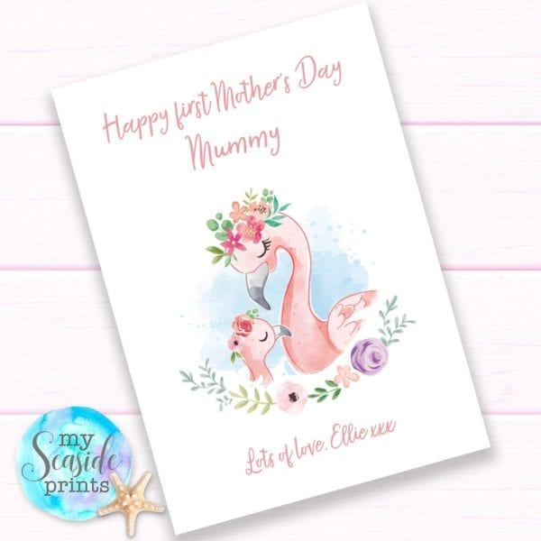 Flamingo First Mother's Day Print for Mummy