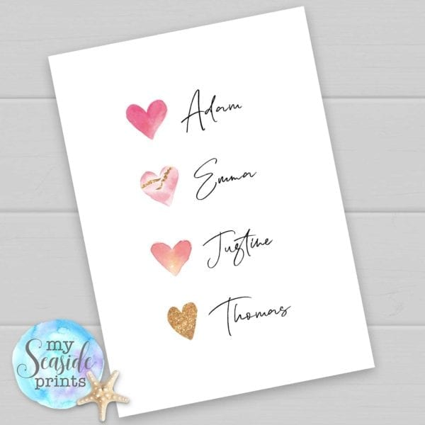 Heart Family Personalised Print