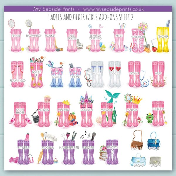 extra ladies welly boot options for family welly boot prints. Add ons include tennis, hockey, nurse, doctor, mermaid, unicorn, princess, beauty, nails