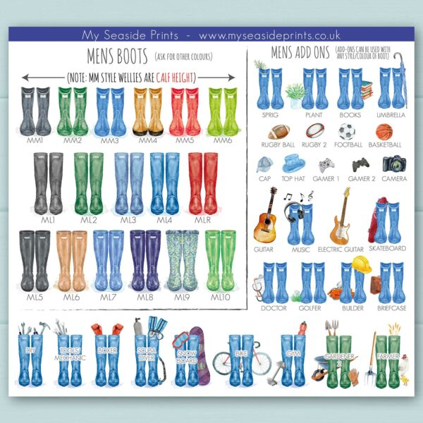 mens welly boot options for family welly boot prints, lots of add on options including football, rugby, basketball, skateboard, gamer, guitar, snowboarding, tools/mechanic, DIY, PS4, X-box, doctor