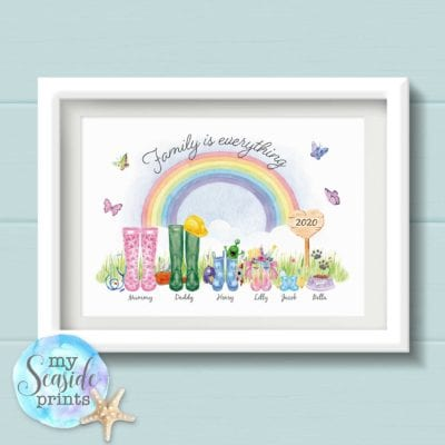 Personalised Family is everything Welly Boot Print with Rainbow, gift for Dad, Mum, Grandad, Grandma, Nan, Gran, Nain 2020