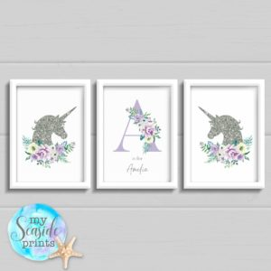 Set of 3 unicorn prints for girls bedroom or nursery, Floral Initial with flowers and name and glitter effect unicorns, wall decor.