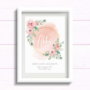 Personalised gift for baby girl. Blush pink Nursery wall Art Print with flowers. New Baby Print. Gift for baby girls birthday. Newborn baby