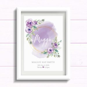 Personalised gift for baby girl. Lilac / Purple Nursery wall Art Print with flowers. New Baby Print. Gift for girls birthday. Newborn baby