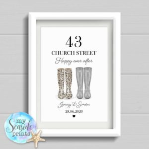 housewarming print with wellies