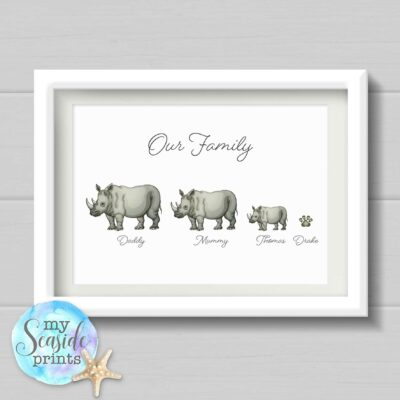 Rhino Family Personalised Print