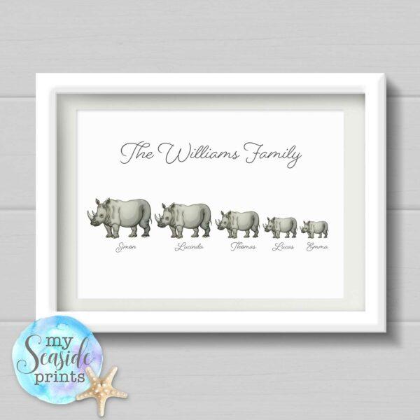 Rhino Family Personalised Print