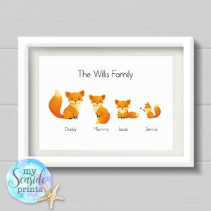 fox family personalised print