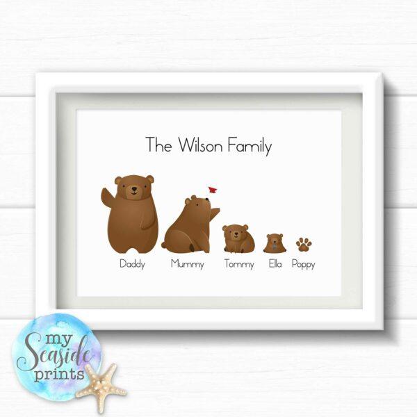 Brown Bear Family Personalised Print