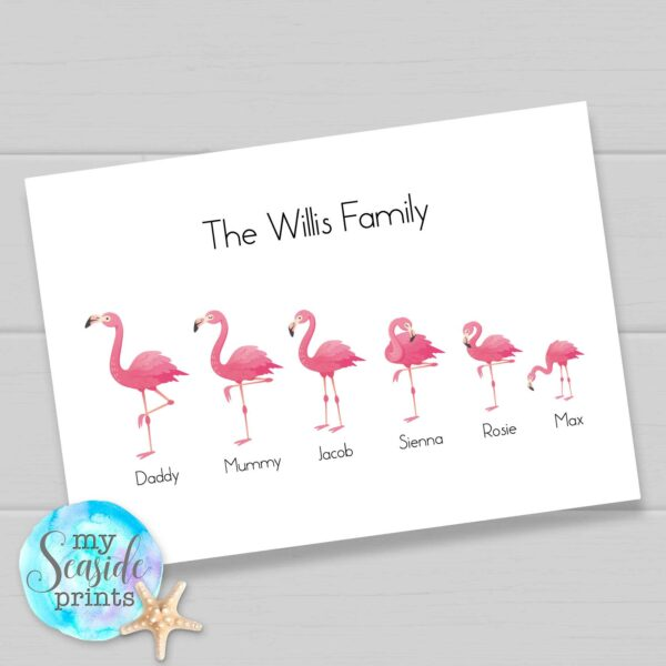 Flamingo family personalised print