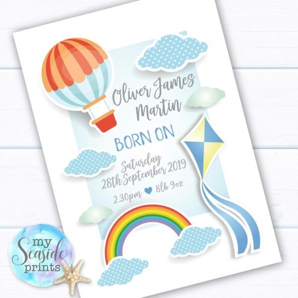 Gift for baby boy. Personalised Baby Boys Keepsake present with birth stats. Bespoke Print with Rainbow, clouds and Kite.