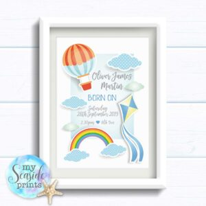 Personalised Boys Print with Rainbow, clouds and Kite