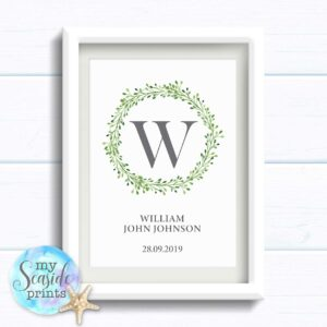 Personalised Baby Boy Gift. Modern botanical wreath