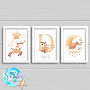Set of 3 Woodland Deer prints with name