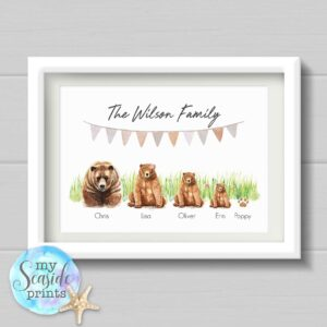 Brown Bear Family Personalised Print